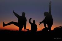 Jerry, Sammy and Lauren heralding the sunset in Mashatu